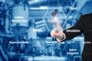 Business man touching industry 4.0 icon in virtual interface scr